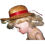 Nice small Straw Hat with Red Ribbon