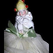 "8"" Tall Half Doll Pierrot with Powder Puff Organdy Skirt Just wonderful display piece!"