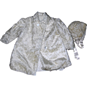 Vintage Mohair coat & Bonnet for Large bisque doll.