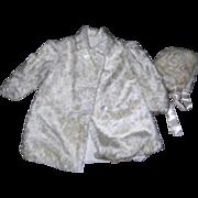 Vintage Mohair coat & Bonnet for Large bisque doll.