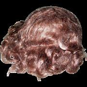 Really Nice Auburn Brown Mohair wig 4 Late Century dolls