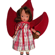 """5"""" Tall Nancy Ann Storybook Doll with plastic stand Red Riding Hood."""