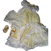 """Christening Dress, petticoat bloomers and shoes for Baby 16-18"""" tall"""