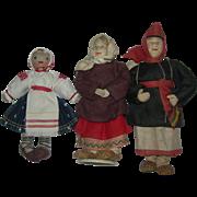 3 Russian Dressed Cloth dolls