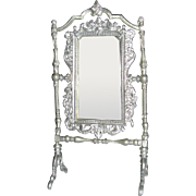 "4"" Soft Silver Metal Ornate Mirror Silver or Pewter"