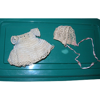 Vintage Crocheted dress & Lace hat for All bisque dolls