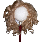 "13"" Dark blond Mohair wig side part"