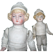 Big & Little Brothers Snow Baby All Bisque Dolls