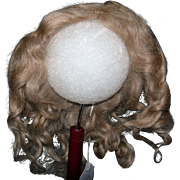 "8-9"" Ash Blond Mohair wig side part"