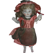 "5 1/2"" Antique All-Bisque Doll Pink bootines"
