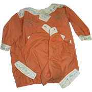 Just in Time for Spring! Vintage Peachy Orange cotton Outfit for Large Bisque Babies!