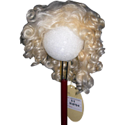 "8-9"" Curly Mohair Pale Blond wig"