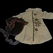 "Vintage Flannel Coat and Velvet bonnet for 18-20"" doll"