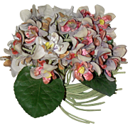 A Pretty Vintage Nosegay of Silk, velvet Flowers