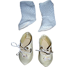 Handmade Leather Shoes and cotton socks for Bisque dolls