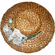 Vintage Straw Hat with Roses for Bisque Dolls