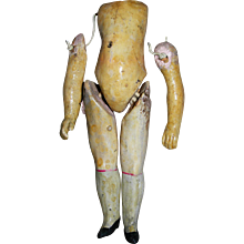 """4 3/4"""" tall Small Antique composition Flapper Body, unusual sock/shoe paint"""