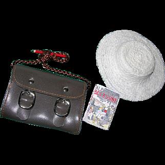 Bleuette items; Hat, book, & School bag