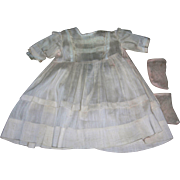 Antique Pale Peachy Pink Silky Cotton Dress & knitted socks in peachy pink for bisque dolls