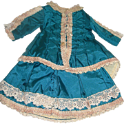 Reproduction French Bru Dress and Hat Teal blue