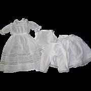 """Gorgeous Antique Batiste Dress & Vintage Undies For Bisque Doll 20"""" Insertion lace"""