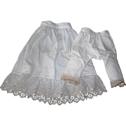 """Pretty Vintage cotton Petticoat and Bloomers with lace details and tuck work for 23-24"""" doll"""