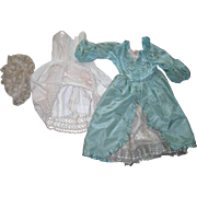 """Vintage Satin Mint Green Colonial Style Dress, undies, and Lace cap for 23-24"""" doll"""