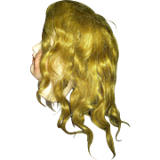 Golden Brown Mohair Antique Wig Side Part...Nice style Kestner