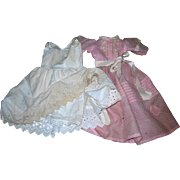 Vintage Sweet Pink Dotted Swiss Dress & Petticoat/bloomers combo for Bisque dolls 20-22""