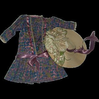 """Vintage Dress & hat for 22-26"""" Bisque doll"""