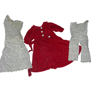 Vintage Red Dress & Undies for Bisque Doll