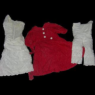 Vintage Red Dress & Undies for Bisque Doll