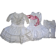 Antique Window Pane Dress & Undies with Pink Silk Ribbon...Sweet dress!