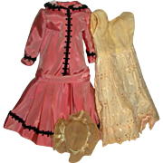 "Peachy Pink Taffeta Dress, Cotton Petticoat/bloomers & hat for 17-18"" slim Doll"