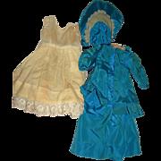 "Teal Blue Taffeta Dress, Bonnet and Petticoat/bloomers for doll 18-19"" tall"