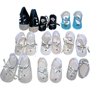 9 Pairs of Vintage shoes for Dolls