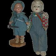Vintage Composition Boy Dolls Cabinet sized!