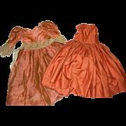"Handmade Bittersweet Orange/brown Cotton Dress & under-dress for 24-26"" doll"