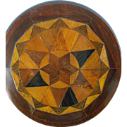 Antique Doll : Miniature :English Parquetry Inlaid Tilt Table