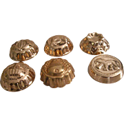 Six Miniature Copper Molds