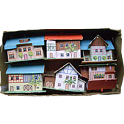 Six German Miniature Houses for Dolls or Putz
