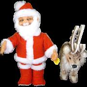W.German Steiff  Santa and Rennie