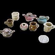 8 Pottery Miniature Dollhouse Pieces