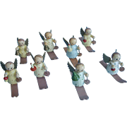 8 Miniature  Wood Angels on Skis