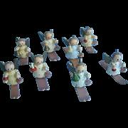 8 Miniature  Wood Angels on Skis