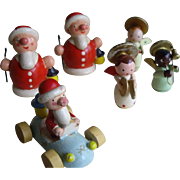 Six Wooden Santas and Angels