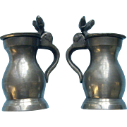 Miniature English Pewter Tankards Doll Size