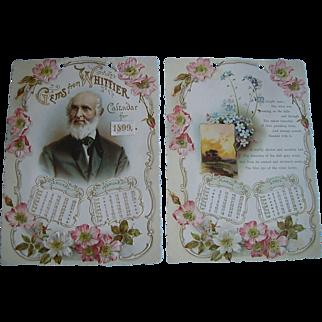 Small Whittier 1899 Floral Calendar