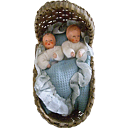 Sweet Caco Twin Babies in Basket