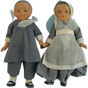 Two 4.5 Inch All Bisque Pilgrim  Dolls-Japan